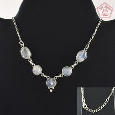Rainbow Moon Stone Beautiful Fashion Design 925 Sterling Silver Necklace NK2965 #SilvexImagesIndiaPvtLtd #Necklace