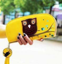 New-Clutch-Change-Coin-Cards-Bag-Women-Purse-OWL-Print-Ladies-Handbag-Wallet