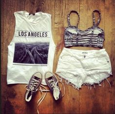 Summer fashion... I could thrift for a vintage T like this, and cut off the sleeves! I need new converse though...