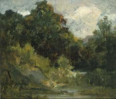 """Untitled landscape (trees), Edward Mitchell Bannister, oil on canvas, 14 x 16 1/8"""", Smithsonian American Art Museum."""