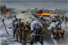 Pinturas de ejércitos y batallas - - Pantings of armies and battles Tanks and armored. German Soldiers Ww2, German Army, Military Art, Military History, Military Drawings, Germany Ww2, Ww2 Pictures, German Uniforms, Panzer