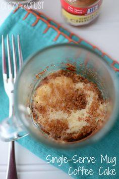 Single-Serve Mug Coffee Cake by www.crazyforcrust.com   When you want a taste, not a whole cake!