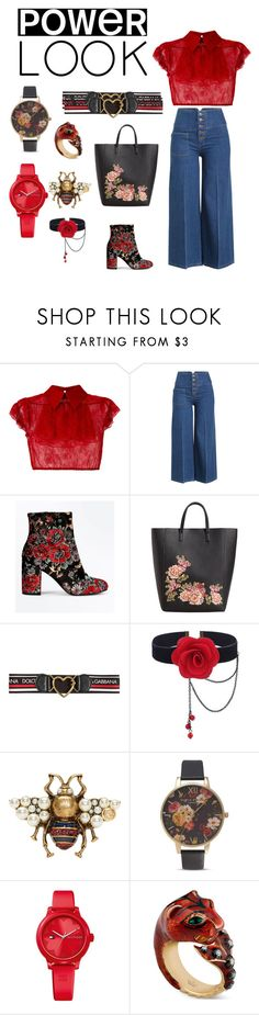 """red rich hippie"" by virginiareed ❤ liked on Polyvore featuring N°21, Marc Jacobs, New Look, MANGO, Dolce&Gabbana, Gucci, Olivia Burton, Tommy Hilfiger, girlpower and powerlook"