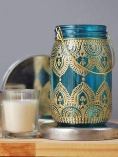 Gypsy Decor Mason Jar Candleholder, Turquoise Glass with Gold Detailing by LITdecor on Etsy https://www.etsy.com/listing/231860041/gypsy-decor-mason-jar-candleholder