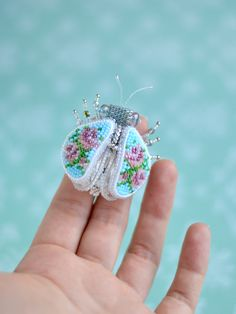 Bug Brooch Bead Embroidery Bug Blue Beaded Brooch Swarovski Crystals Brooch Брошь Жук Вышивка бисером