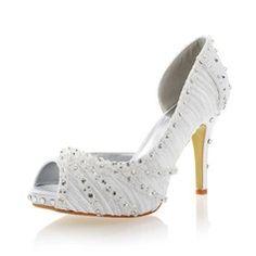 Women's Silk Like Satin Stiletto Heel Peep Toe Pumps With Rhinestone Flower
