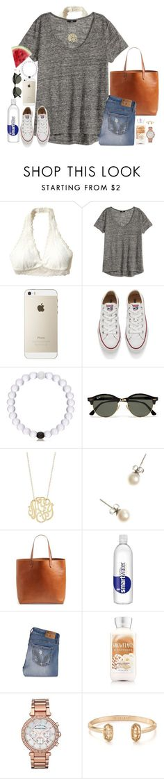 """Wanting some summer rn"" by southernstruttin ❤ liked on Polyvore featuring Hollister Co., H&M, Converse, Ray-Ban, Ginette NY, J.Crew, Madewell, Michael Kors and Kendra Scott"