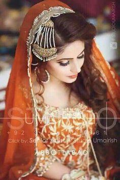 Nidsss Pakistani Bridal Hairstyles, Pakistani Wedding Dresses, Bridal Dresses, Indian Bridal Makeup, Bridal Hair And Makeup, Desi Wedding, Wedding Bride, Wedding Wear, Pakistan Wedding