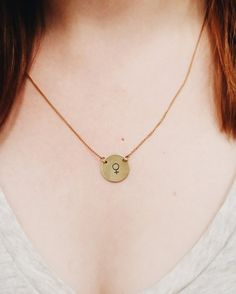Female symbol necklace // #feminist approved // the future is female // simplestamp jewelry // dainty neckalces