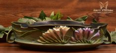 Roseville Pottery 1945 Tropical Green Freesia Console Bowl #467-10 - The Kings Fortune