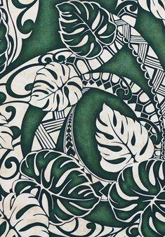 Tapa Fabric Monstera Leaf Tattoo Patterns Green Lavalava