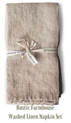Rustic Farmhouse Washed Linen Napkins set of Farmhouse Style Bedrooms, Farmhouse Style Decorating, Farmhouse Pottery, Rustic Farmhouse, Linen Napkins, Napkins Set, Kitchen Tools And Gadgets, Cottage Style, Home