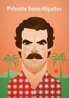 Stanley Chow Illustration of Manchester England // Magnum PI Character Illustration, Illustration Art, Stanley Chow, Edelweiss, Magnum Pi, Kunst Poster, Celebrity Caricatures, Private Investigator, Tumblr