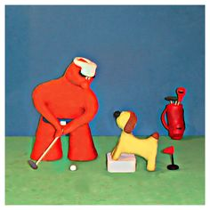 Bob was just about to hit his last shot😁when he had a suspicion someone may be hungry😂hmm😄🐾 #golf #fun #tips #art #artist #golfing #golfwang #bob_scooby #clay #creative #sculpture #funny #picoftheday #artoftheday #photo #dog #doglover #cute #food #polymerclay #artwork #golflife #golftips