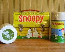 Snoopy Lunch Box/Metal Lunch Box/Vintage Lunch Box/VintageThermos/Charlie Brown/Lunch Box/1960's Lunch Box
