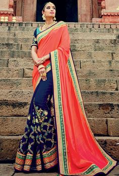 Amazing Navy Blue and Coral Pink Saree