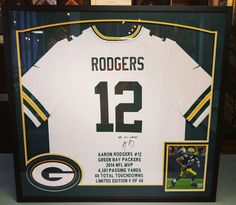 No matter who your favorite team is, bring your memorabilia to the sports framing experts in Denver! #denver #colorado #jerseyframing #sportsframing #greenbaypackers #aaronrodgers