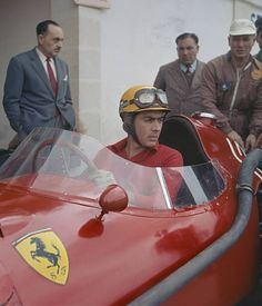 Luigi Musso of Italy sits aboard the Scuderia Ferrari Ferrari 801 in the pits during practice for the French Grand Prix on July 1957 at the. Ferrari Racing, Ferrari F1, F1 Racing, Racing Team, Subaru, Formula 1, Track Pictures, Audi, Toyota