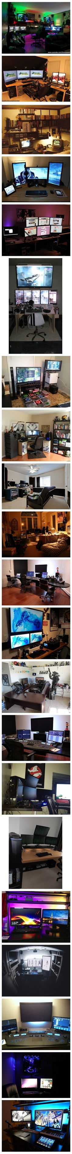 Most of these are gaming setups but there are some great ideas for multi screen configs for video editing.