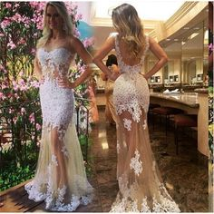 Backless Champagne Mermaid Prom Dress See Through Sexy Birthday Dresses Appliqued O-Neck Evening Gowns Vestido Formatura 2017