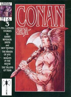 """Barry Windsor-Smith illustrated new covers for the first nine issues of Conan Saga. This issue also contained """"Cimmeria"""" a poem by Conan creator Robert E. Howard.  http://beachbumcomics.blogspot.com/"""