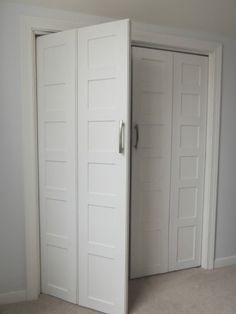 Bi-fold to Paneled French Door Closet Makeover - * Remodelaholic *