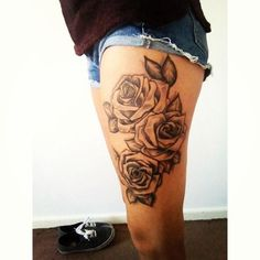 floral thigh tattoos - Google Search