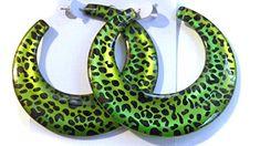 Vintage Hoop earrings Leopard print Green or Blue hoop earrings inch Flat Wide Hoop Earrings Thin Hoop Earrings, Bamboo Hoop Earrings, Clip On Earrings, Neon Jungle, Jungle Party, 80s Jewelry, Jewelery, Leopard Spots, Silver Color