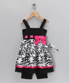 Take a look at this Black & Pink Zebra Tunic & Bike Shorts - Infant, Toddler & Girls by Sweet Heart Rose on #zulily today!