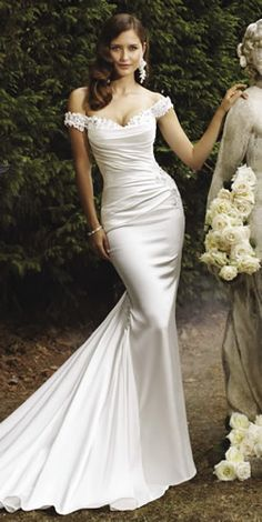 Super glamorous #weddingdress! Off the shoulder lace straps, and fitted, draped satin. Sophia Tolli - Magnolia