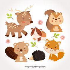 Bebés de animales dulces sonriendo Vector Gratis