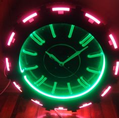 *Super Rare* 1950's Cleveland NEON Clock, AZTEC, w/ Tube Numbers