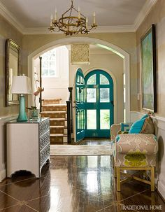 Very Fun having the front door color on the inside for a pop of color, House of Turquoise: Kat Liebschwager Interiors, Richmond, Va Richmond Homes, Richmond Virginia, House Of Turquoise, Turquoise Door, Teal Door, Turquoise Cottage, Interior And Exterior, Interior Design, Foyer Decorating