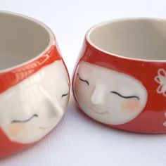 Red dipping bowl 2 pce set little smiling faces by Belinism