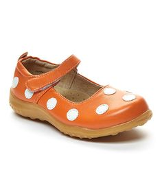 Look what I found on #zulily! Orange & White Polka Dot Mary Jane #zulilyfinds