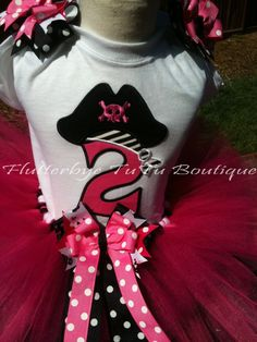 Perfectly Pink Pirate Birthday TuTu Set Ages 19 by flutterbyetutu, $51.50