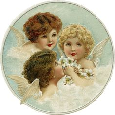 Wings of Whimsy: Sweet Christmas Cherubs - PNG (transparen background) and 2 inch printable collage sheet