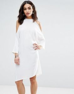 Liquorish Cold Shoulder Oversized Midi Dress