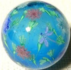 Pincushion Flower & Dragonfly Marble--Satake Glass Lampwork Marble.  One of a kin marble was creted by 'Ayako Hattori' from Nagoya City Japan.