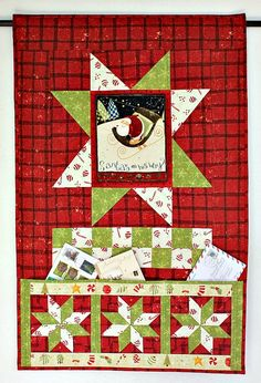 Christmas Card Holder, Quilted Wall Hanging, Pocket Organizer, Door Banner, Whimsical Wall Quilt, Quiltsy Handmade by RedNeedleQuilts on Etsy