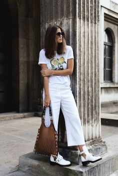 All White Everything Street Style Outfit $130 Zalando High Waisted White Cropped Pants White Lemon Embroidered Detail T-Shirt And $350 Avenue 32 Brown Bag Tumblr