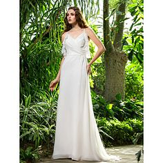 Sheath/Column Spaghetti Straps Sweep/Brush Train Chiffon Wedding Dress (710764) – USD $ 89.69