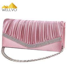 Women Satin Clutch Bag Rhinestone Evening Purse Ladies Day Clutch Chain Handbag Bridal Wedding Party Bag Bolsa Mujer 2017 XA1080 //Price: $8.99 & FREE Shipping //     #hashtag4