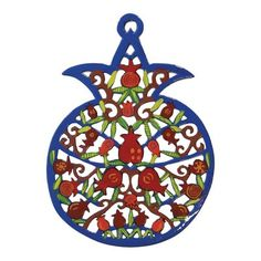 Yair Emanuel Hand Painted Pomegranate Wall Hanging-Pomegranate Branches Hand-painted laser cut metal Size: 16 x 11 cm / x Complete the stylish décor look you were going for with this charming and colorful pomegranate wall hanging from legendary Pomegranate Tattoo, Pomegranate Art, Jewish Jewelry, Jewish Art, Fruit Art, Colorful Decor, Hand Embroidery, Wall Decor, Wall Art
