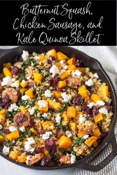 Squash Chicken Sausage and Kale Quinoa Skillet is a healthy and protein-packed meal! via Squash Chicken Sausage and Kale Quinoa Skillet is a healthy and protein-packed meal! via So simple, yet unbelievably tasty, these Classic Pot. Chicken And Butternut Squash, Apple Chicken, Acorn Squash, Clean Eating, Healthy Eating, Dinner Healthy, Eating Raw, Cooking Recipes, Healthy Recipes