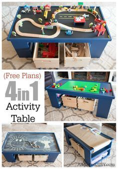 Build  a 4 in 1 Activity Table for kids. This makes a great addition to any playroom and keeps the kids entertained for hours between trains, coloring and more.