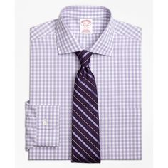 Brooks Brothers Non-Iron Madison Fit Gingham Dress Shirt ($92) ❤ liked on Polyvore featuring men's fashion, men's clothing, men's shirts, men's dress shirts, purple, brooks brothers mens dress shirts, mens tie dye shirts, mens purple gingham shirt, mens pleated shirt and mens american flag shirt
