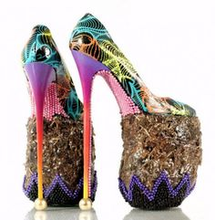 Extremely High Heeled Shoes Made From Elephant Dung By