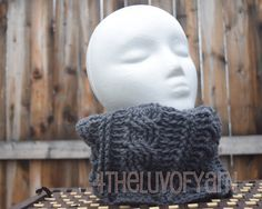 Cable Cowl, Tube Scarf, Neck Warmer, Women's Cable Cowl, Men's Cable Cowl, Charcoal Grey Scarf