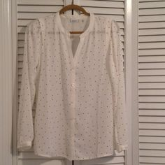 DKNY Button up blouse Polka dot blouse DKNY Tops Button Down Shirts
